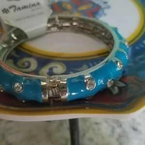 Blue enamel bangle with hinge bracelet . Diamond
